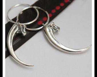 Silver Eagle Talon Earrings 003