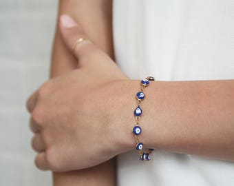 Dainty Evil Eye Bracelet • Hamsa Bracelet • Stacking Gold Bracelet • Layering Bracelet • Minimalist Jewelry • Gift for Her