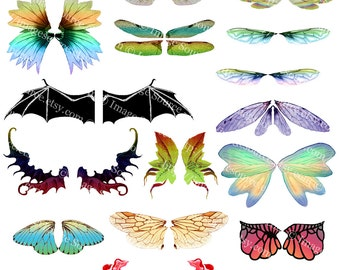 Printable Fairies Wings Collage Sheet, Fairy Wings Illustrations, Instant Digital Download