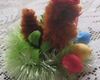Spun Cotton And Chenille Chick On Nest Made in The Czech Republic