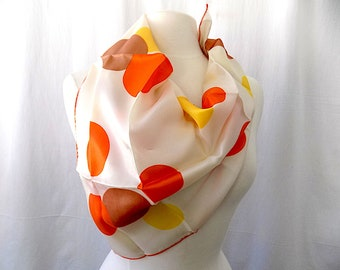 Scarf with Mod Motif from 1960s-1970s with Latte, Sunshine & Orange Dots on White