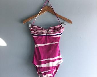 80s Halter Strap Swimsuit//Fuschia//XS