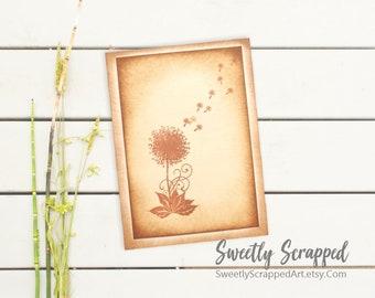 Dandelion Wish Greeting Card. Blank Card, Blank Greeting Card, Floral Card, Birthday Card, Wedding, All Occasion, Blank, Aged, Flower