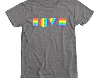 LGBTQ LOVE Shirt Youth | LGBT Shirt | Gay Pride Shirt | Love is Love | Kids Pride Parade Shirt | Gay Lesbian Parents Shirt | Pride Rainbow