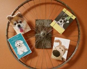Rustic Reclaimed Bicycle Wheel Wall Photo Display