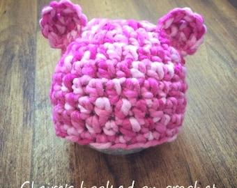 pink baby bear hat, 0-3 mo size, newborn photo prop, christmas baby gift, baby shower, birthday gift.