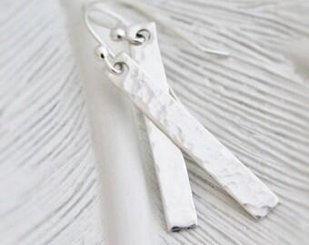 Long Silver Bar Earrings, Sterling Silver Earrings, Hammered Bar Earrings, Thin Bar Dangling Earrings, Minimalist Earrings, Gifts For Her