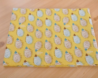 hedgehog cotton fabric 1/2 yard yellow