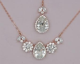 Backdrop Bridal Necklace, Rose Gold Wedding Necklace, Crystal Back Drop Necklace, Swarovski Rhinestone Wedding Jewelry for Brides
