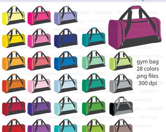 Gym Bag Icon Digital Clipart in Rainbow Colors - Instant download PNG files