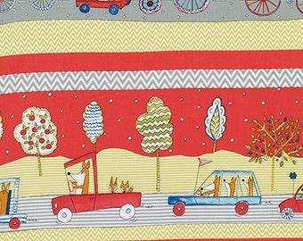 1 YARD Dena Designs FOX PLaYGROUND Animals in Cars Transport in Red for Free Spirit