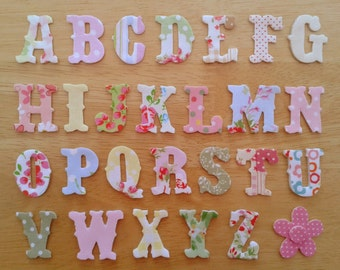 "Vintage Style Iron on Fabric Letters - 3.2cm (1  1/2"") uppercase appliques  - made to order, choose your letters and fabrics - ships from"