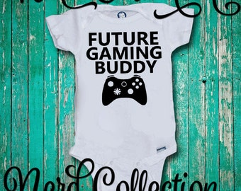 Baby Onesie Future Gaming Buddy Gamer Daddy Baby Shower Gift Nursery Funny Humerious Custom Baby Clothing Gerber Infant