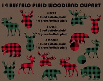 Woodland Animals, Buffalo Plaid Woodland Clipart, Deer Hunting, Bear, Moose, Deer Head, Moose Head, Plaid Clipart, Sport, Instant Download