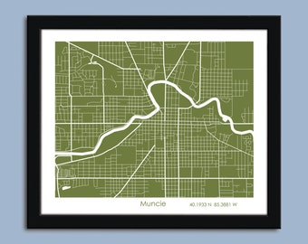 Muncie map, Muncie city map art, Muncie wall art poster, Muncie decorative map