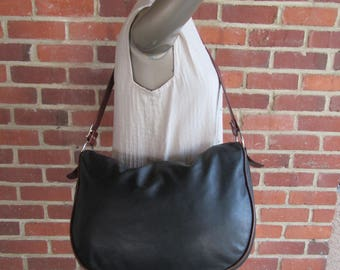 Marino Orlandi XL Leather Crossbody Bag Brown Black Large Convertible Satchel Purse Handbag 1990s 90s