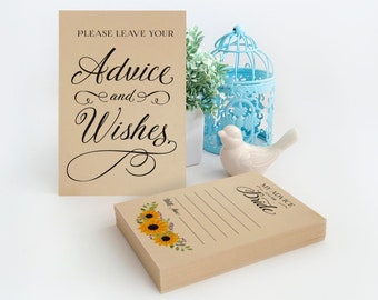 Bridal shower guest book alternative   Advice for the bride cards   Bridal advice cards   Sunflower advice cards   4x6 sign included free