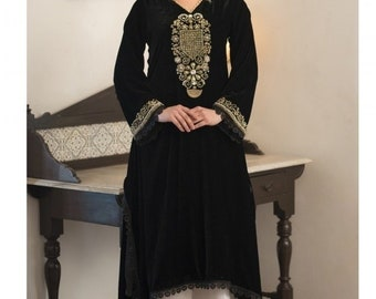Black and White Formal salwar style Dress free shipping