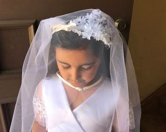 First Communion bridal Veil comb junior bridal beil Headband tiara Tulle floral pearls Girls holy communion Elbow Length Off White Flower Gi