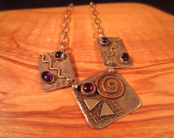 Tribal Sterling Silver Brass Copper Amythest Necklace