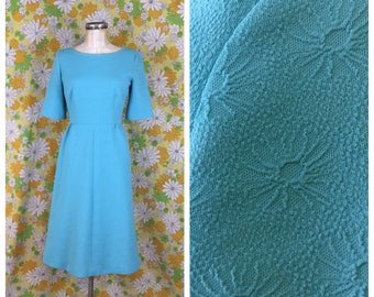 SALE! 60s 70s Vintage Baby Blue Textured Fitted Dress Medium Large