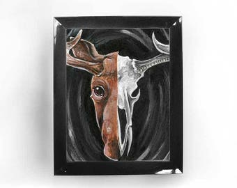 Moose Art, Skull Print, Home Decor, Any Size, Unique Gift, Taxidermy, Woodland Animal, Skeleton Art, Canada Wall Art, Gothic Poster