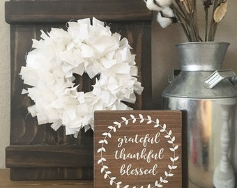 Grateful Thankful Blessed wood sign - Fall Decor - Thansgiving Sign - Farmhouse Decor - Fall sign