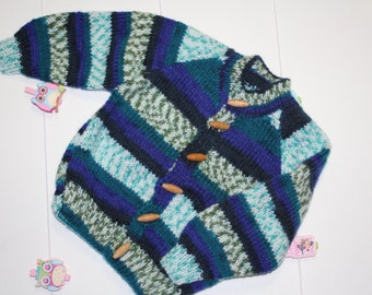 Sea Blues Multi-coloured Hand Knitted jumper