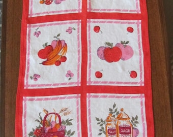 Vintage 60's Pink and Red Kitchen Theme Linen Tea Towel -  Kitchen Linens - Wedding Shower - Gift