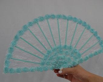 Blue Hand fan - Bridal Accessories - Wedding hand fan - hand held fan - lace hand fan - Bride Accessories - Wedding Accessories