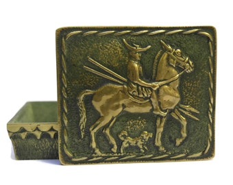 Max Le Verrier Bronze Box With Horse Rider. Cavalier Macédonien. Vintage Equestrian Art Box.