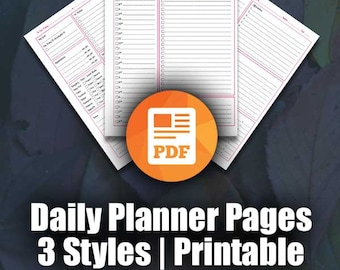Printable Daily Planner Page | Day Planner, To Do List, Daily Schedule, Daily Calendar, Daily Agenda Page |  ARC Planner, 3 Styles , PDF