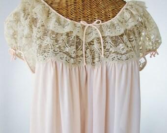 "Barbizon Pink Nightgown Lace Bodice 1950s 42"" Bust Unworn"