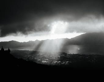 Sun Ray on Mount Batur Bali in Black and White Instant Digital Download  Personal or Commercial Use