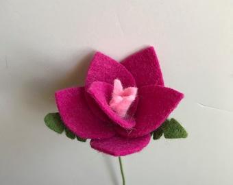 Fuchsia flower, felt flower, felt flower stem, build your own bouquet, flower stem, fuchsia flower stem, felt flower bouquet, fuchsia stem
