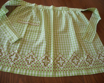 Vintage, Handmade Green Gingham Apron with Chicken Scratch Embroidery