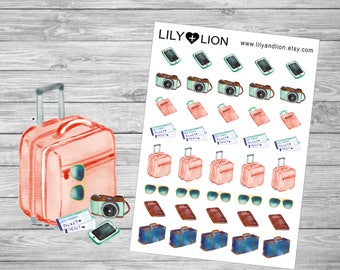 Holiday - Travel - Vacation Planner Stickers - diary  Happy planner  plum paper  filofax  travelers notebook  erin condren  EC suitcase