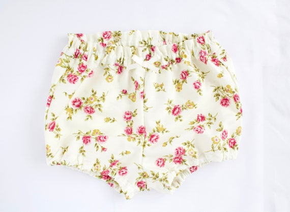 Baby Bloomers/nappy cover/ puff pants/ diaper cover, dusky pink rose on cream background