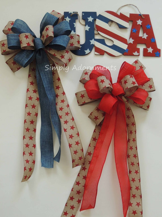 Rustic Burlap Patriotic Bow July 4th Burlap Wreath Bow 4th of July Denim Bow Patriotic Denim Wedding Pew Bow Patriotic Bow Election Day Bow