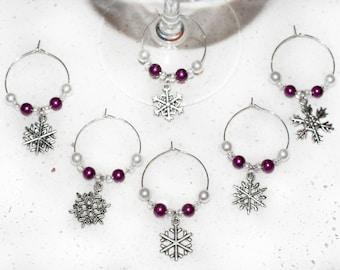 Pink Snowflake Wine Charms; Christmas; Winter; 6 piece wine charm set