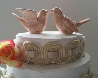 Birds Wedding Cake Topper Peach Color Love Birds Ceramic Birds Ceramic Bird Home Decor