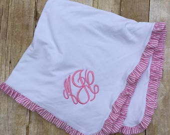 Monogrammed Baby Blanket, Ruffle Pink Seersucker Receiving Blanket, Minky Ruffle Blanket, Baby Shower Gift, New Baby Gift, Keepsake
