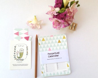 Birthday calendar, sweet colors, geometric patterns - Perpetual calendar, remember birthdays, calendar cards, birthdays - rounded corners