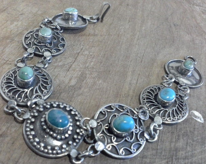 Vintage Native American Navajo Sterling Silver 925 Concho Bracelet with Bezel Set Natural Turquoise Stones