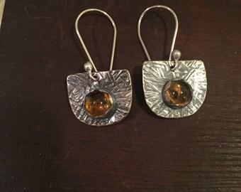 Earrings - Handmade Citrine and Sterling Silver Earrings