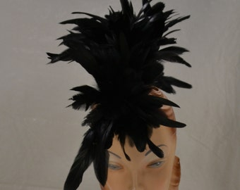 Feather Mohawk Black Costume Feather Headpiece