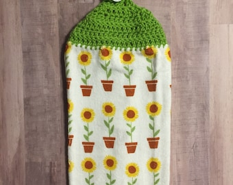 Crocheted Top Dish Towel  - Potted Sunflowers