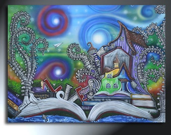 Large Colorful Imaginary Book Town Original Painting 30 x 40