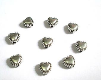 10 heart 7mm antiqued silver tone spacer metal beads