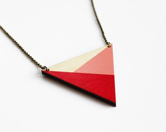 pink wooden necklace, geometric necklace, triangle wooden necklace, minimalist necklace, triangle pendant, modern jewelry, colorful necklace